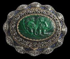 Parcel-Gilt Silver Pomander with Rose-cut Diamonds, Sapphires & Malachite West India or Sri Lanka (Ceylon) circa 1800