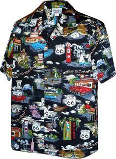193b2d7db Pacific Legend Route 66 Black Cotton Men's Hawaiian Shirt Hawaiian Print,  Cool Hawaiian Shirts,