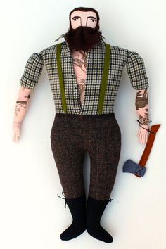 Burly Lumberjack tattooed man doll by MimiKirchner on Etsy