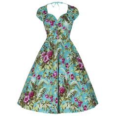 'Bella' Blue Tropic Hawaiian Swing Dress