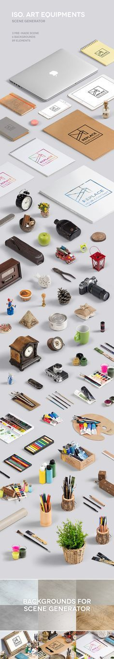 Iso Art Scene Generator. A wonderful freebie mockup for creative people. #design #graphic #download