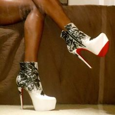 shoes, boot louboutin, fashion styles, ankle boots, high heel, black boots, black white, heels, christian louboutin