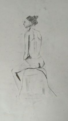 Sketch of african women, every line drawn with ruler so only straight lines. Pencil