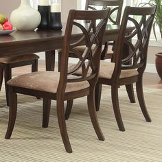 @Overstock - Elegantly styled, these side dining chairs feature an intricate chair back construction that highlights gentle curves. The solid poplar frame features an espresso finish offset by the soft peat upholstery of the seat cushion.http://www.overstock.com/Home-Garden/Cheshire-Espresso-Peat-Side-Dining-Chair-Set-of-2/7668606/product.html?CID=214117 $184.44