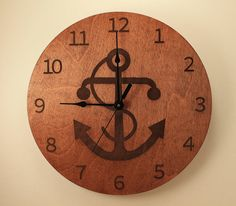 Anchor laser cut clock Wood clock Wall clock by BunBunWoodworking