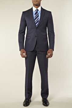 Calvin Klein Slim Fit Pindot Suit Navy from Moss Bros