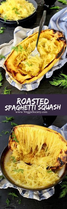How to roast spaghetti squash halves in the oven, with or without oil and turn it into lovely angel hair noodles #plantbased #wfpb #easydinner #sidedish #vegan #veganrecipes