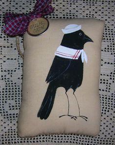 Primitive Summer Sailor CROW Ornie Pillow by auntiemeowsprims, $9.99