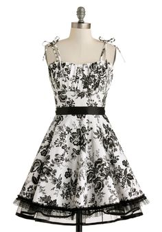 Frill and Lace Dress - Cotton, Mid-length, White, Black, Floral, Belted, Daytime Party, Fit & Flare, Spaghetti Straps, Sweetheart, Fairytale