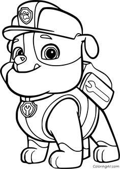 12 free printable Rubble Paw Patrol coloring pages in vector format, easy to print from any device and automatically fit any paper size. Nick Jr Coloring Pages, Super Coloring Pages, Paw Patrol Coloring Pages, Cartoon Coloring Pages, Coloring Pages To Print, Free Printable Coloring Pages, Coloring Books, Coloring Sheets, Disney Colouring Pages