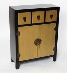 Mueble chino aparador negro 2 puertas muebles chinos for Muebles orientales madrid