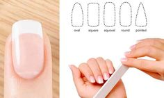 Learn how to shape your nails- oval, round, squoval, sliletto and almond with tutorials.