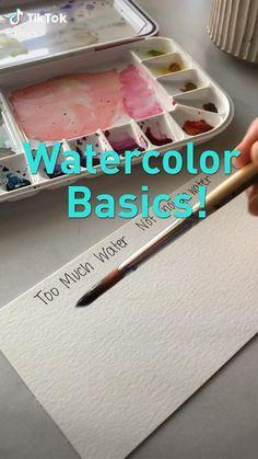 Watercolor Art Lessons, Watercolor Paintings For Beginners, Watercolour Tutorials, Art Drawings Sketches Simple, Diy Canvas Art, Art Tutorials, Diy Art, Sketching, Coloring