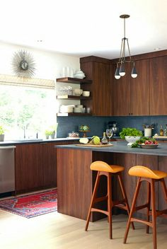 Walnut Wood and black modern kitchen
