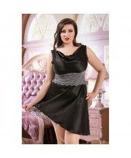 c31bf670a 047 Sofia - Black Satin Babydoll with Lace Detail S 6XL 8 24 Babydolls