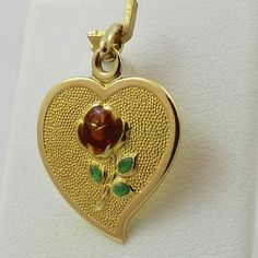 18K Yellow Gold Heart Rose A Son's Love Amor de Figlio Charm Pendant 2 5gr | eBay...
