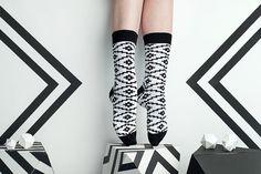 Casablanca black white socks for men and women. Geometric patterned men socks. Free delivery!