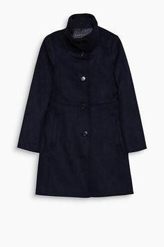 Navy Mantel Stehkragen einreihig Wolle