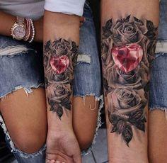 Flower diamond tattoo