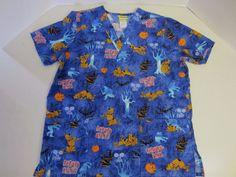Scooby Doo Scrubs Shirt M Medium Top SS Short Sleeve Blue Orange #HannahBarbera