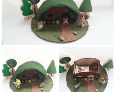 House in the Hill Playscape Play Mat - wool felt pretend storytelling storybook fairytale fantasy dollhouse peg doll gnome fairy rabbit