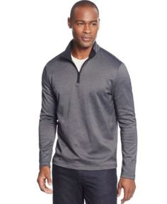 Alfani Quarter-Zip Pullover Sweater, Only at Macy's - Gray S