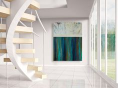 Northern Lights is a bold, contemporary abstract landscape featuring colorful streaks of dark blue, bright aqua, yellow ochre and pops of crimson red over ridges and raised texture with a milky white crackling horizon partitioning off the moody sky.  Free Shipping within the United States!!! (Lower 48 Only)  ---------------------------------------------------------------  This Large Gallery Wrapped 36x48 inch Modern Abstract Painting is made with High Quality Acrylic Paint and protected with…