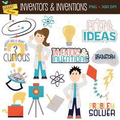 Science Clip Art - Inventors - Inventions - Cute Digital Clipart - INSTANT Download