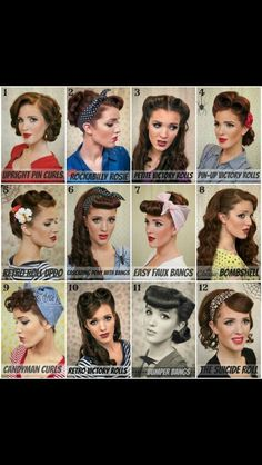 I don't know what it is about these types vintage hairstyles but I LOVE them.  I wish I had the patience and skill to do these to myself