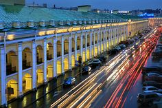 Gostiny Dvor at night in St Petersburg, Russia with evening illumination
