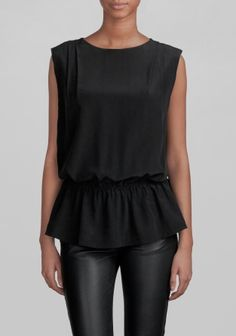 And Other Stories   Mulberry silk top    Black