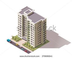 Vector isometric icon or infographic elements representing low poly town apartment building with street and cars for city map creation - Shutterstock Premier