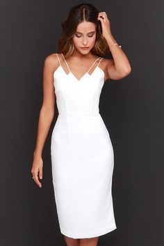 Keepsake Skinny Love Ivory Midi Dress at Lulus.com!
