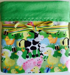 Flannel baby blanket farm baby blanket baby boy by BeastiesBabies