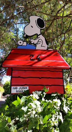 Handcrafted Snoopy Mail Box.  So much fun in one weekend.
