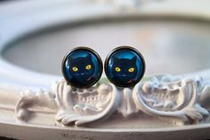 Black cat   6mm 2G plugs bodmod cute yellow by TheCaptainCosmos15% off with code PIN15