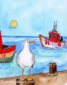 """""""Seagull on Pier"""" by Jakki Moore ~ French Inks & Watercolour www.jakkiart.com #Seagull #JakkiMoore #Pier #Art Watercolour, French, Painting, Collection, Art, Pen And Wash, Art Background, Watercolor Painting, French Language"""