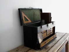 Vintage Machinist Wood Toolbox - Antique Tool Box / Toolbox - Industrial Decor…