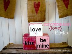 Super cute, easy, and inexpensive, these adorable DIY conversation blocks are perfect for your Valentine's Day decor! simplykierste.com