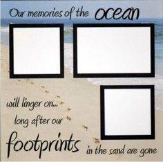 EZLaserDesigns : Our Memories of the Ocean  scrapbook overlay beach vacation layout #scrapbooklayouts Scrapbook Titles, Scrapbook Page Layouts, Wedding Scrapbook Pages, Scrapbook Quotes, Scrapbooking Ideas, Scrapbook Sketches, Scrapbook Paper Crafts, Scrapbook Cards, Vacation Scrapbook