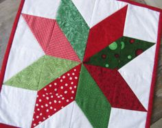 Christmas Star Quilted Table Topper/Mini Quilt/Wall Hanging