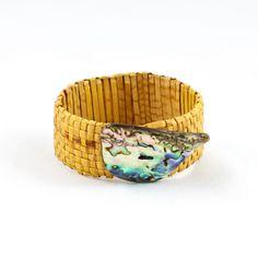 Woven Cedar Bracelet with Abalone by Avis O'Brien (Haida / Kwakwakw'wakw)