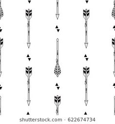 Vector seamless pattern with tribal arrows and triangles. Boho style