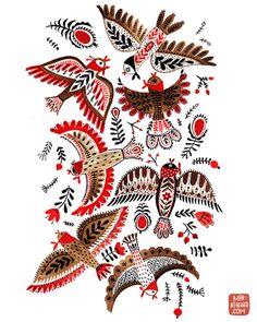 birds by mirdinara Bird Illustration, Illustrations, Folk Art Flowers, Pottery Painting Designs, Russian Folk Art, Joker Art, Scandinavian Folk Art, Bird Art, Art Inspo