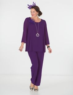 Box+2+purple+chiffon+3/4+sleeve+top+and+trouser