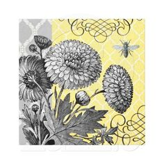 Modern Vintage graphic floral stretched canvas Stretched Canvas Prints