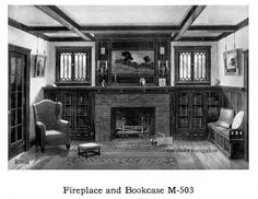 Livingroom with brick fireplace, built in bookcases, inglenook seat and casement windows.