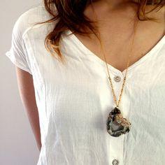 {Brass Chained Geode Slice Necklace}