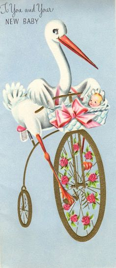 "Vintage Stork ""New Baby"" Card"