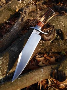 10 inch Bowie. 1095 steel blade, forged stainless guard, stacked Cherry and Stag.